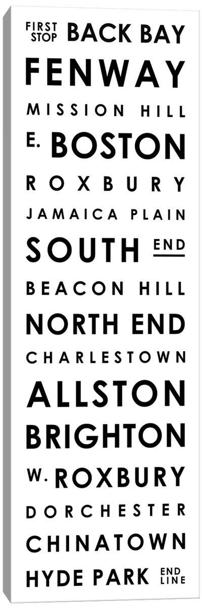 Boston Typographical Neighborhoods Canvas Art Print