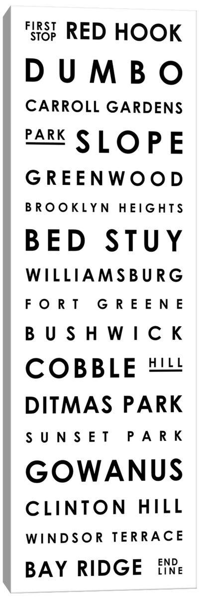 Brooklyn Typographical Neighborhoods Canvas Art Print