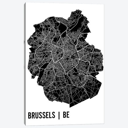 Brussels Map Canvas Print #MCP14} by Mr. City Printing Canvas Artwork