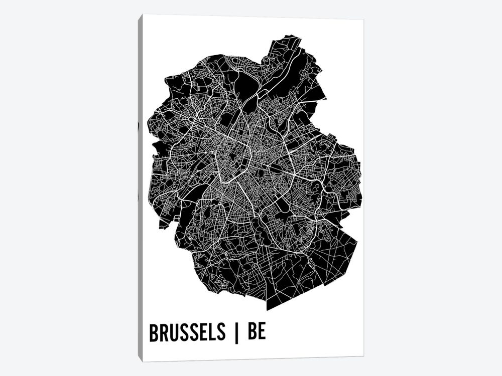 Brussels Map by Mr. City Printing 1-piece Canvas Art Print
