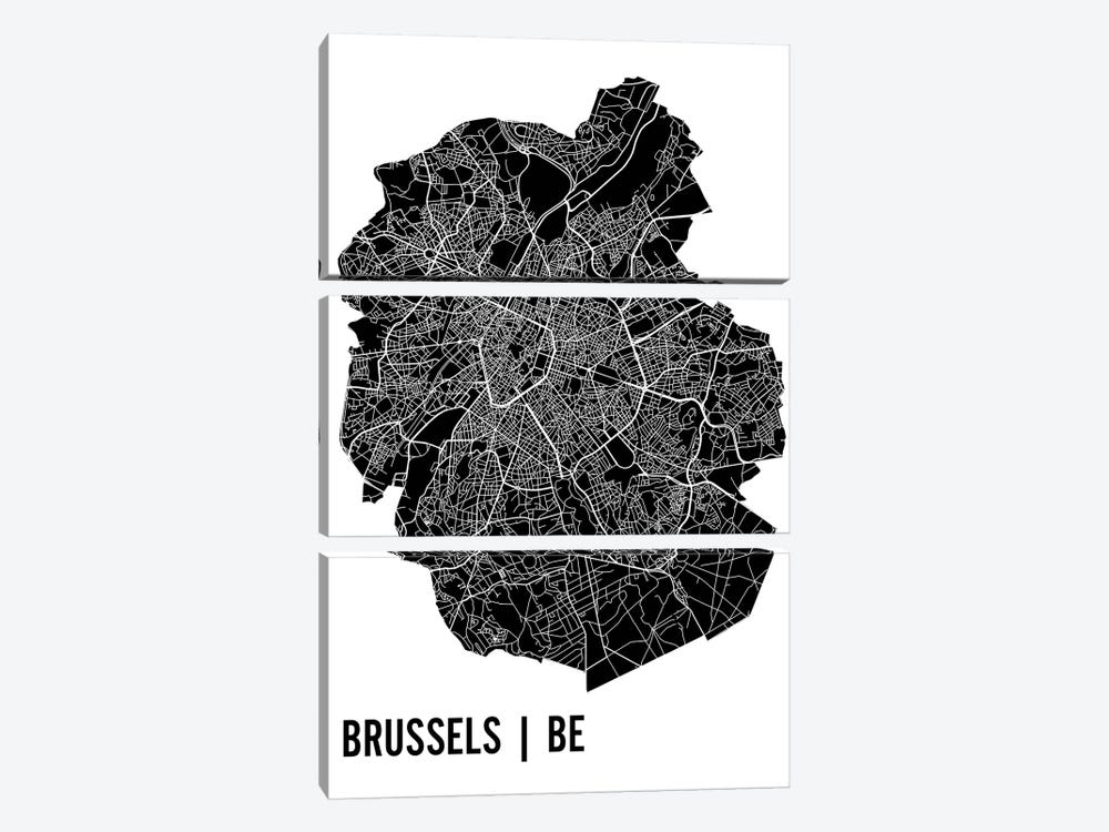 Brussels Map by Mr. City Printing 3-piece Canvas Art Print