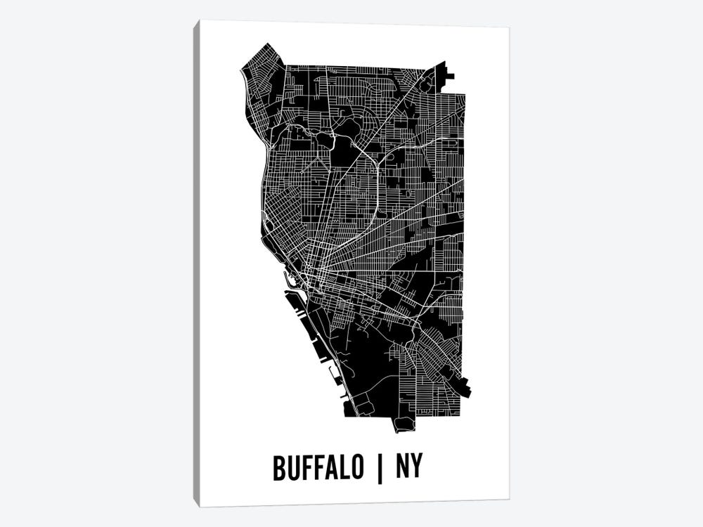 Buffalo Map by Mr. City Printing 1-piece Canvas Art Print