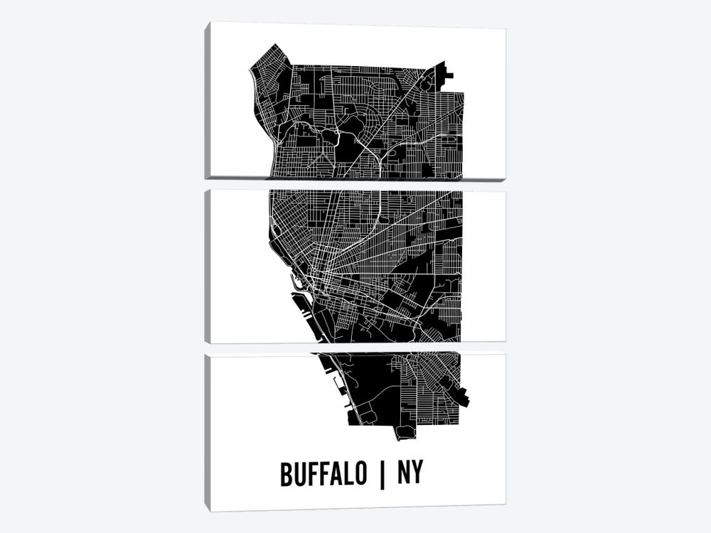 Buffalo Map by Mr. City Printing 3-piece Canvas Print
