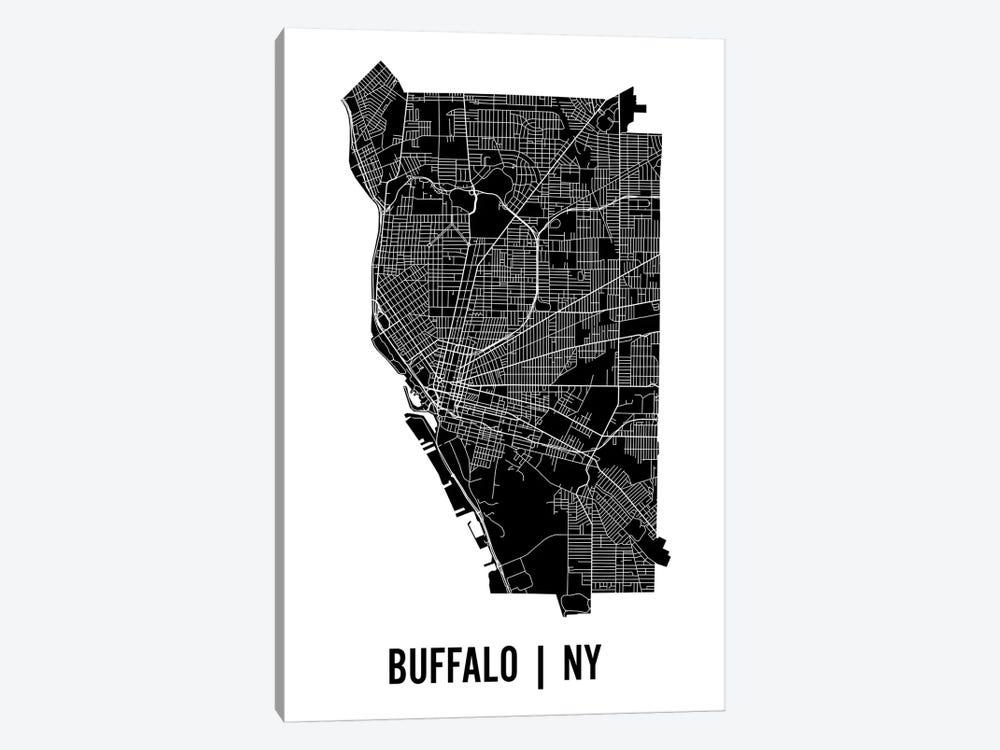 Buffalo Map by Mr. City Printing 1-piece Canvas Art Print