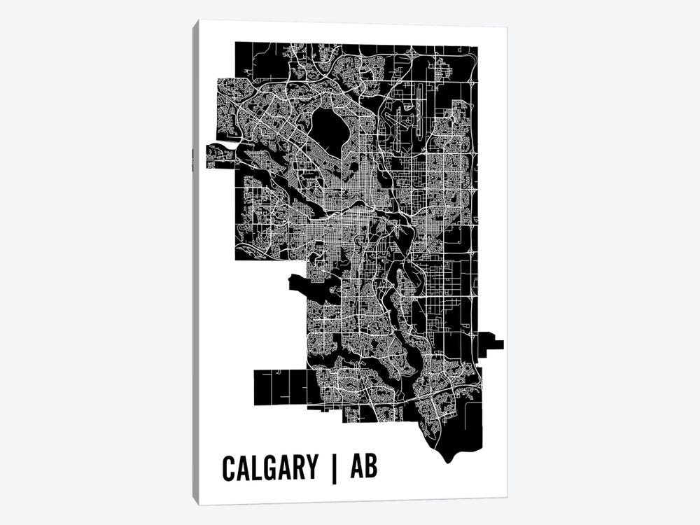 Calgary Map by Mr. City Printing 1-piece Canvas Artwork