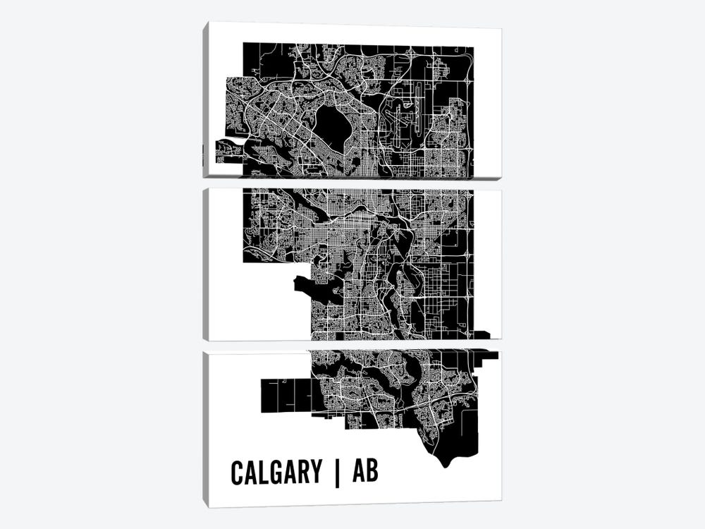 Calgary Map by Mr. City Printing 3-piece Canvas Art