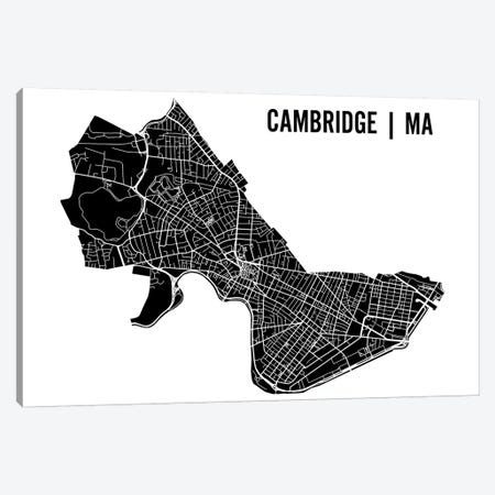 Cambridge Black Map Canvas Print #MCP18} by Mr. City Printing Art Print