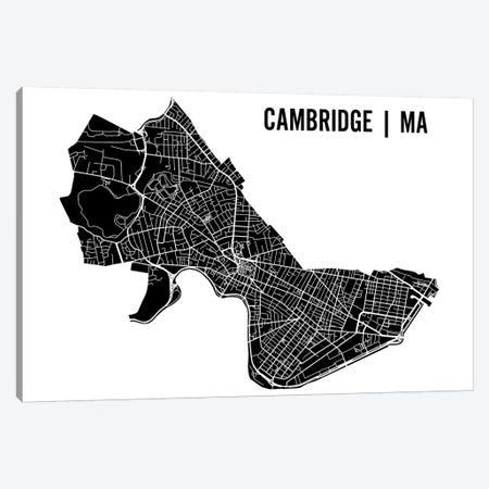 Cambridge Black Map Canvas Print #MCP18} by Mr. City Printing Art Print