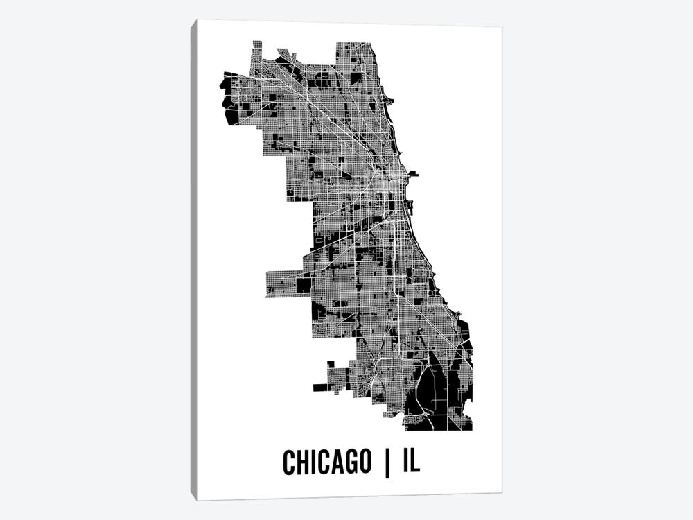 Chicago Map by Mr. City Printing 1-piece Canvas Artwork