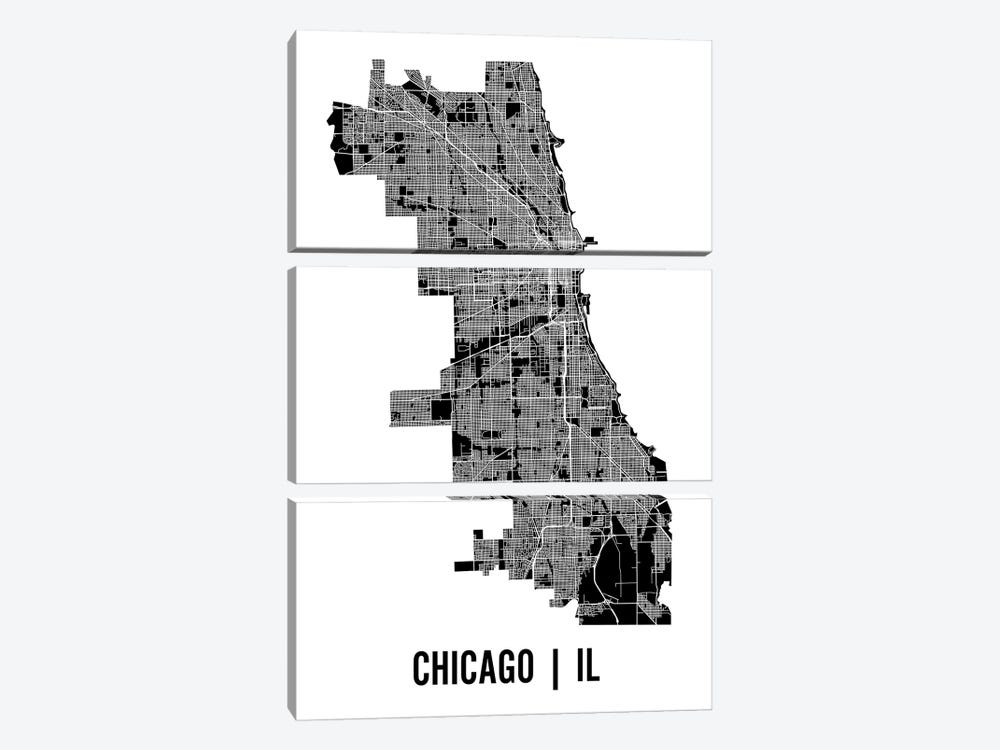 Chicago Map by Mr. City Printing 3-piece Canvas Art