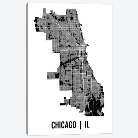 Chicago Map Canvas Print #MCP19} by Mr. City Printing Art Print