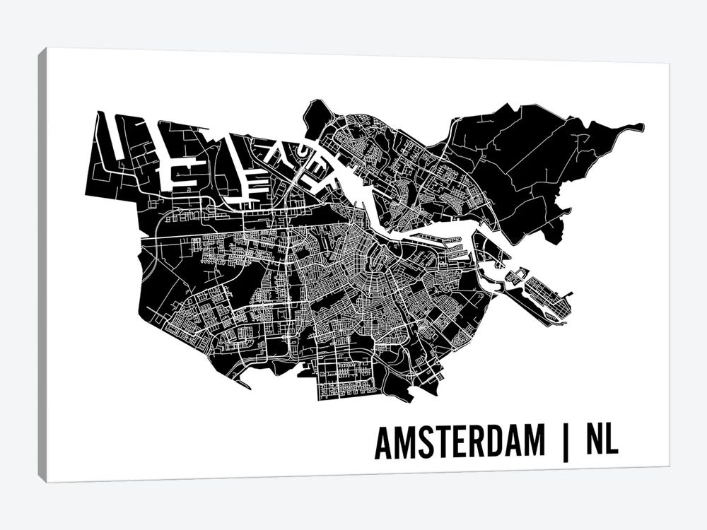 Amsterdam Map by Mr. City Printing 1-piece Canvas Print