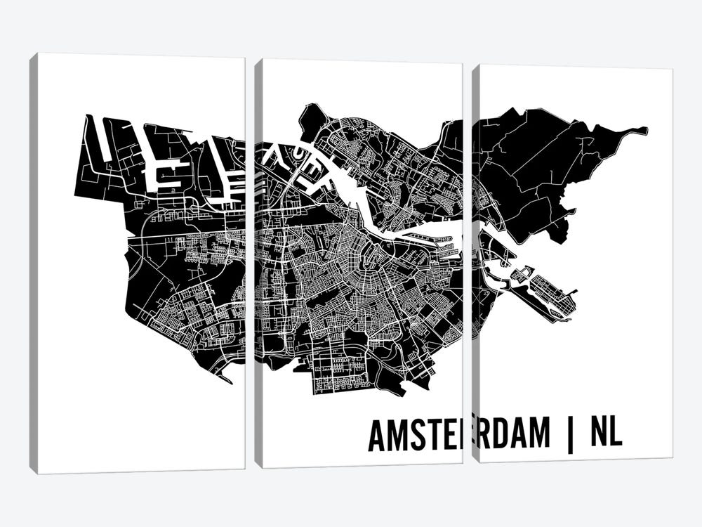 Amsterdam Map by Mr. City Printing 3-piece Canvas Print