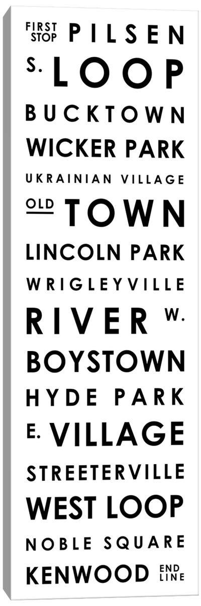 Chicago Typographical Neighborhoods Canvas Art Print