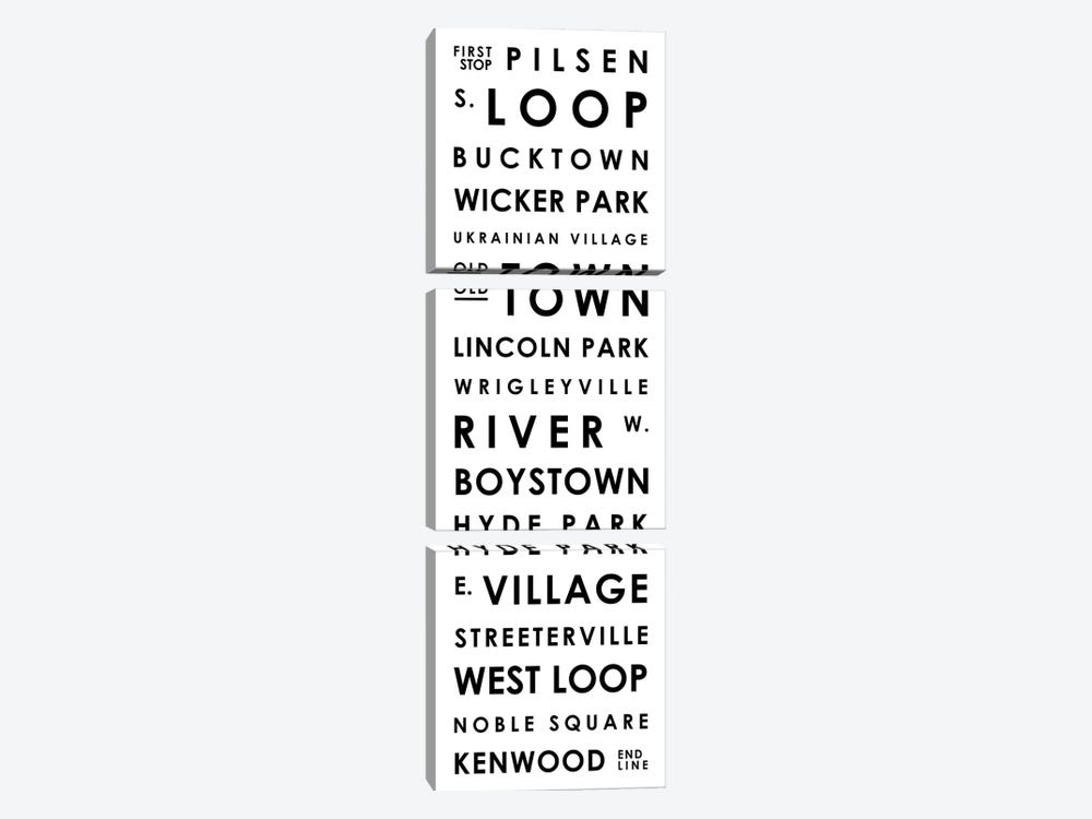Chicago Typographical Neighborhoods by Mr. City Printing 3-piece Canvas Artwork