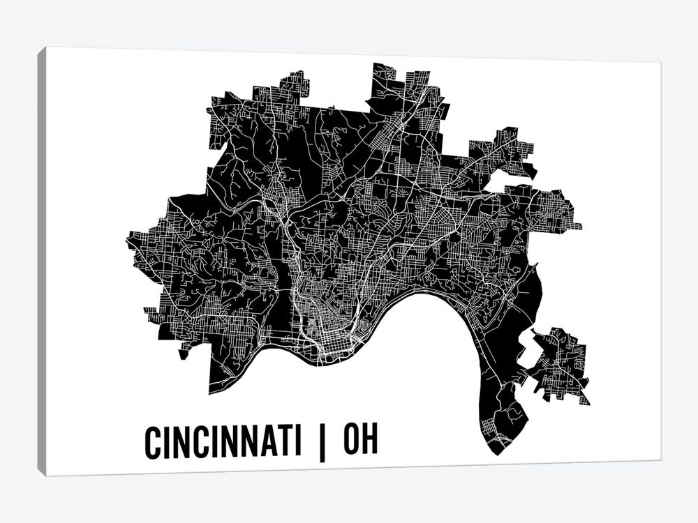 Cincinnati Map by Mr. City Printing 1-piece Canvas Print