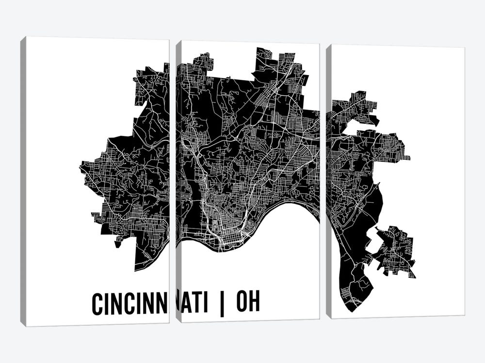 Cincinnati Map by Mr. City Printing 3-piece Canvas Print