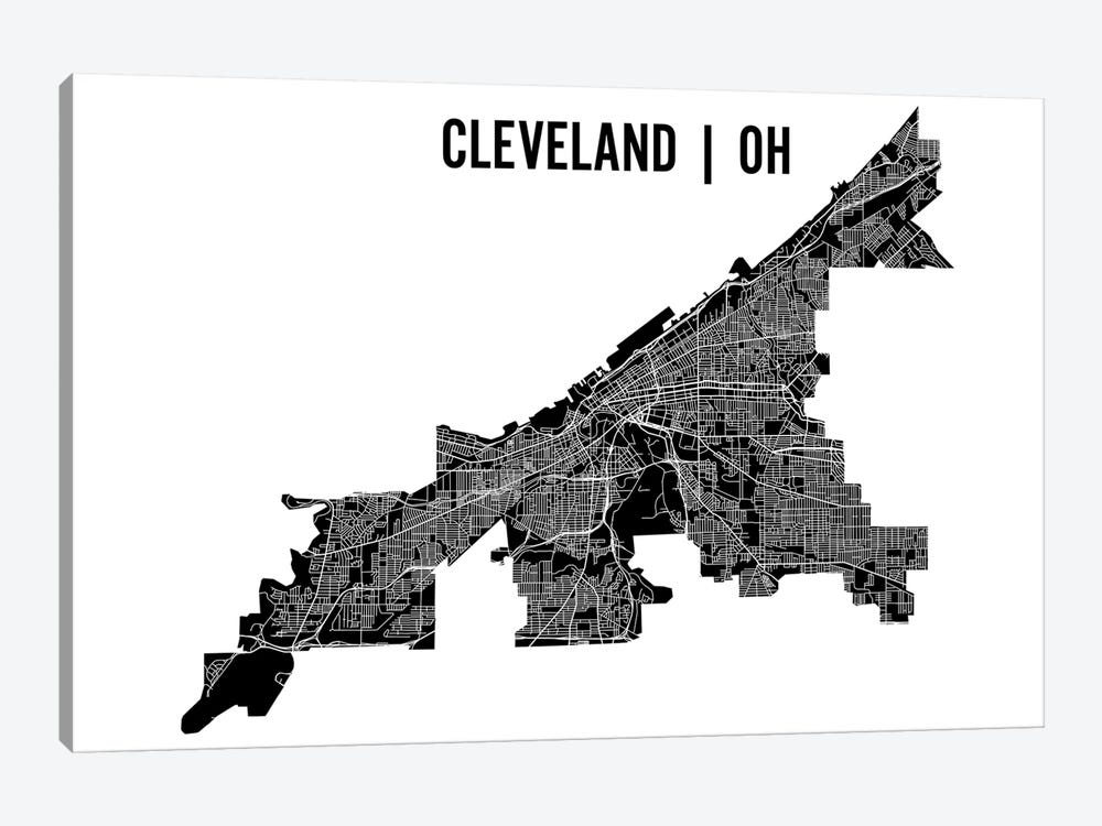 Cleveland Map by Mr. City Printing 1-piece Canvas Art