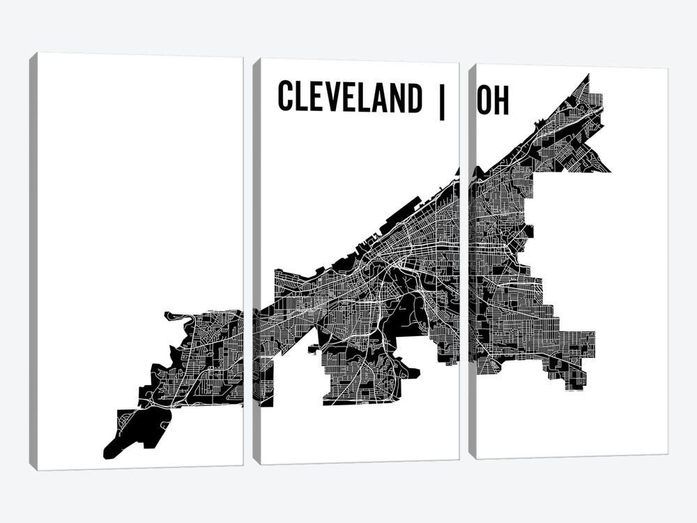 Cleveland Map by Mr. City Printing 3-piece Canvas Artwork