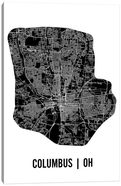 Columbus Map Canvas Art Print