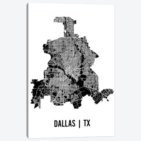 Dallas Map Canvas Print #MCP24} by Mr. City Printing Canvas Print