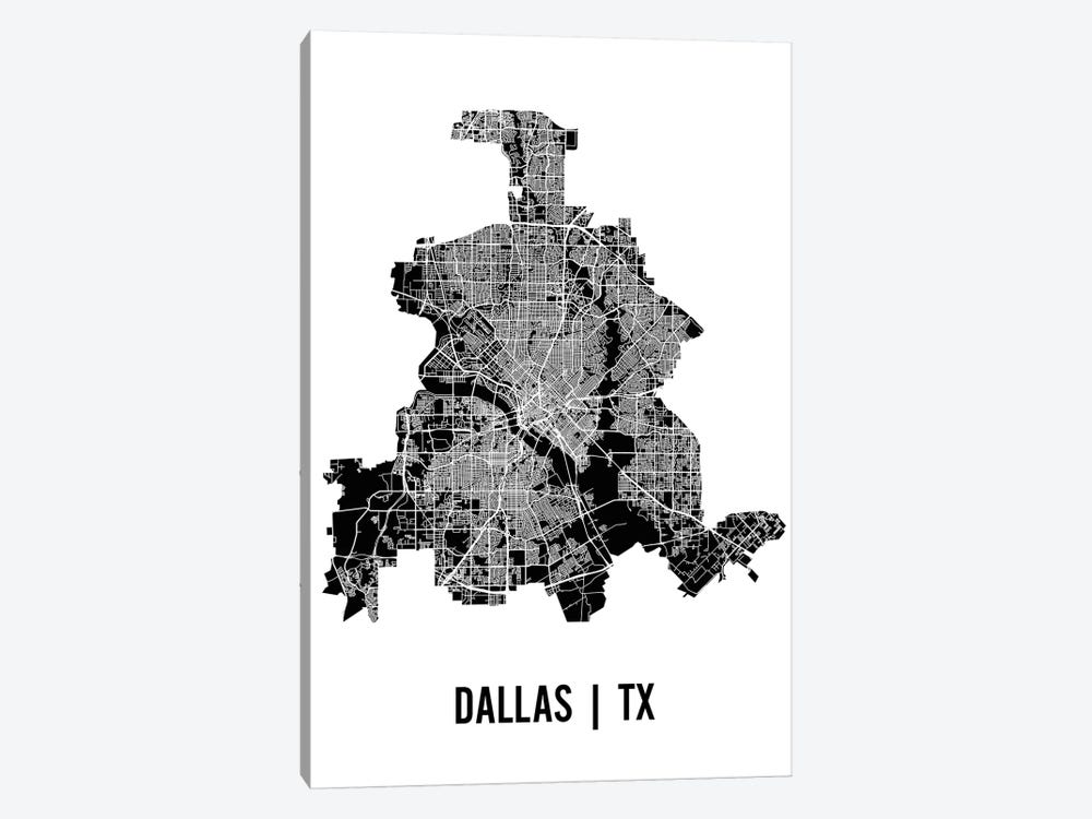 Dallas Map by Mr. City Printing 1-piece Canvas Wall Art