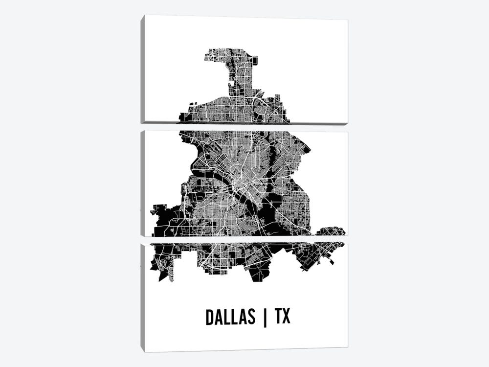 Dallas Map by Mr. City Printing 3-piece Canvas Art