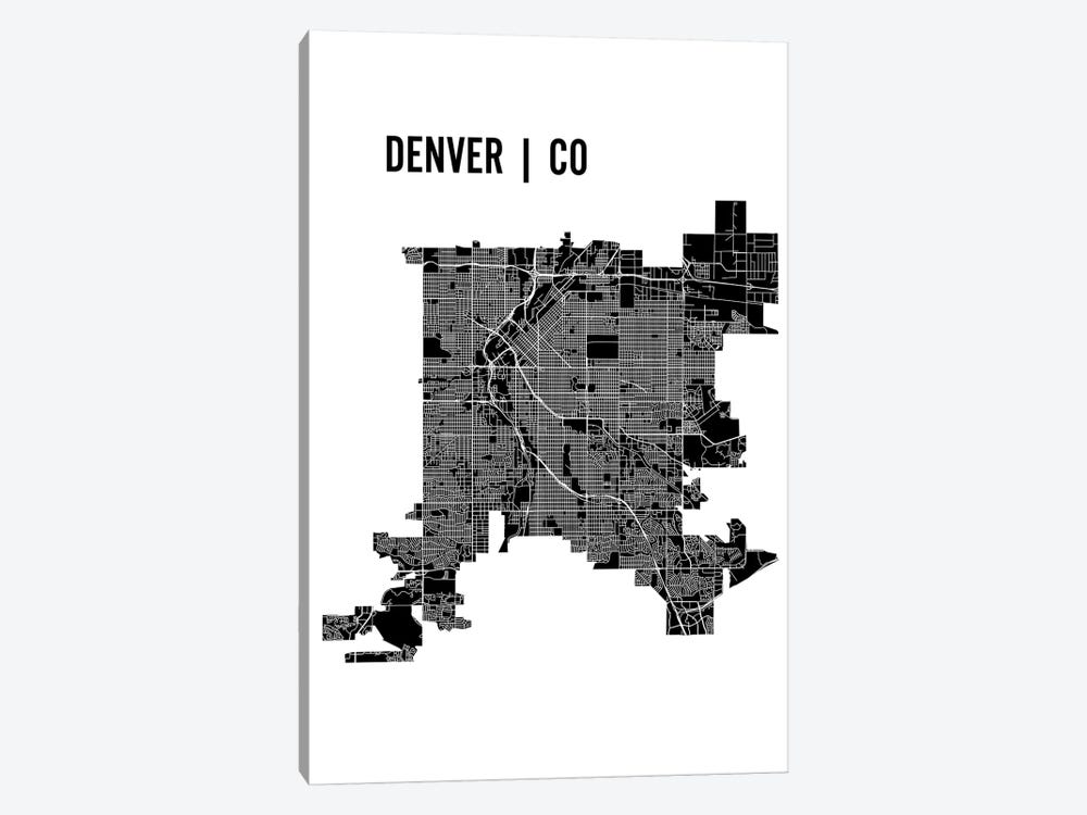 Denver Map by Mr. City Printing 1-piece Canvas Print