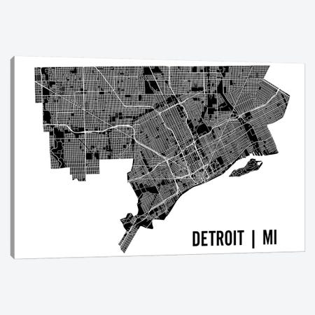 Detroit Map Canvas Print #MCP26} by Mr. City Printing Canvas Art Print