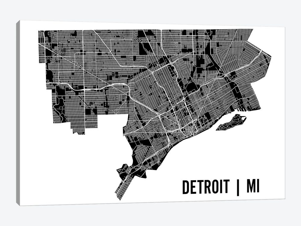 Detroit Map by Mr. City Printing 1-piece Canvas Art