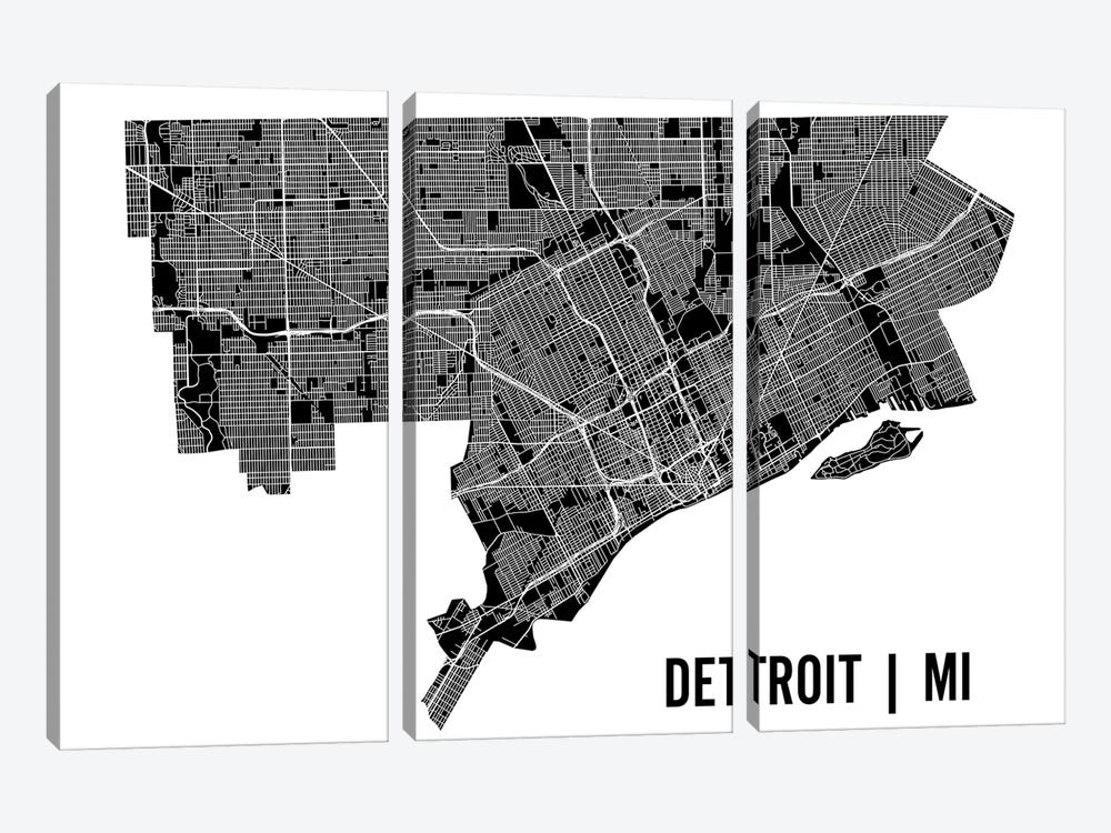 Detroit Map 3-piece Canvas Art