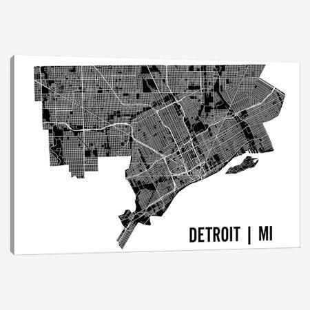 Detroit Map Canvas Print #MCP26} by Mr. City Printing Canvas Art Print