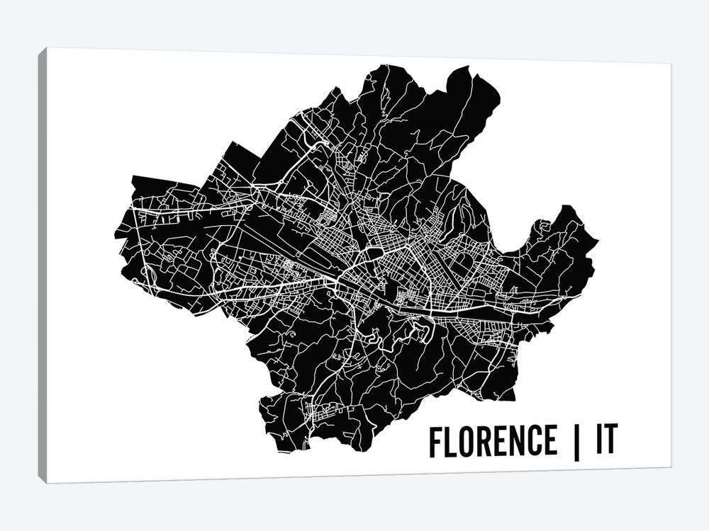 Florence Map by Mr. City Printing 1-piece Canvas Artwork