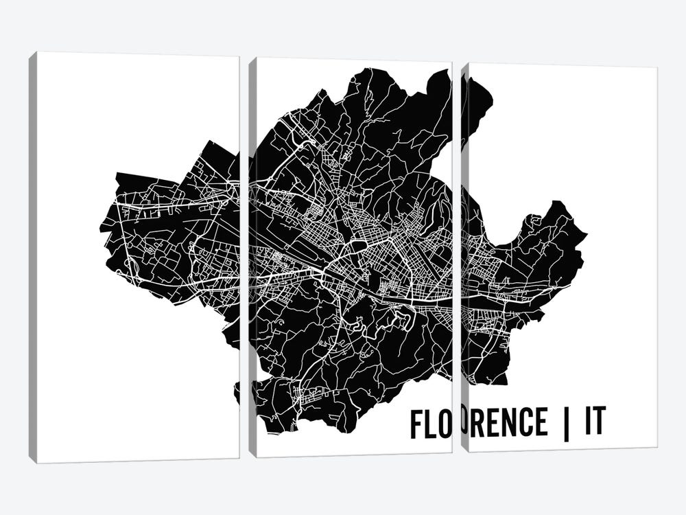 Florence Map by Mr. City Printing 3-piece Canvas Artwork