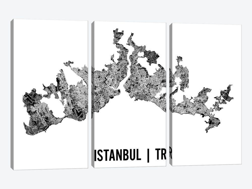 Istanbul Map by Mr. City Printing 3-piece Art Print