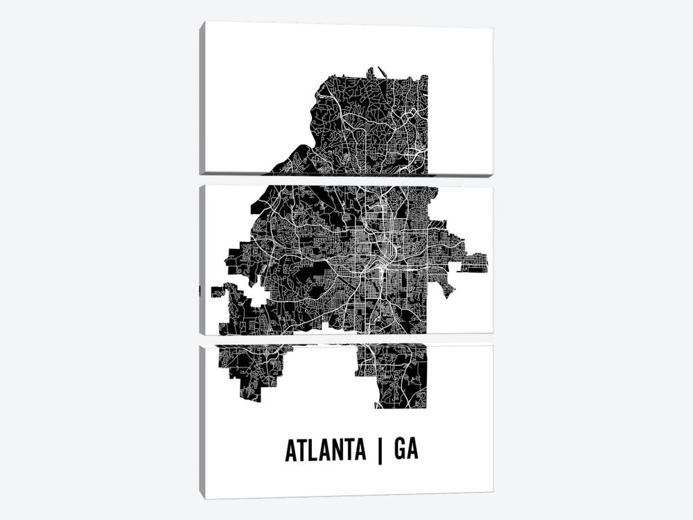 Atlanta Map by Mr. City Printing 3-piece Canvas Art