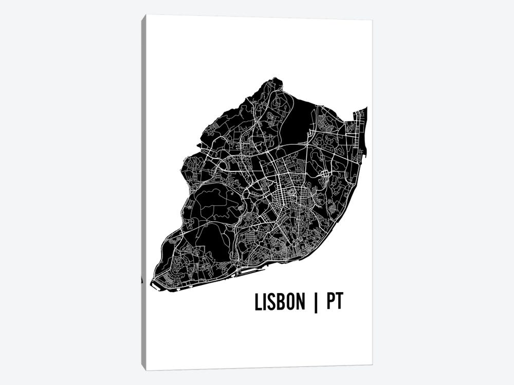 Lisbon Map by Mr. City Printing 1-piece Art Print
