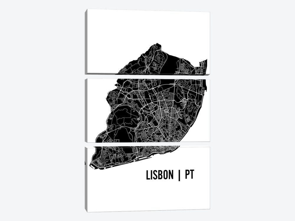 Lisbon Map by Mr. City Printing 3-piece Canvas Print