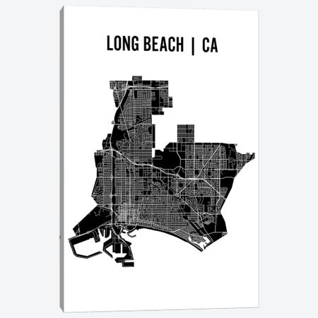 Long Beach Map Canvas Print #MCP32} by Mr. City Printing Canvas Print