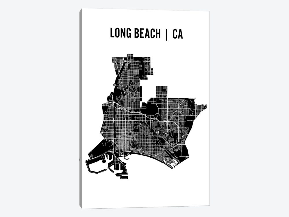 Long Beach Map by Mr. City Printing 1-piece Canvas Print