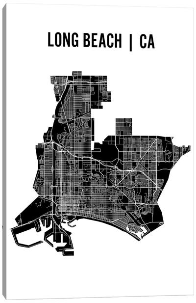 Long Beach Map Canvas Art Print