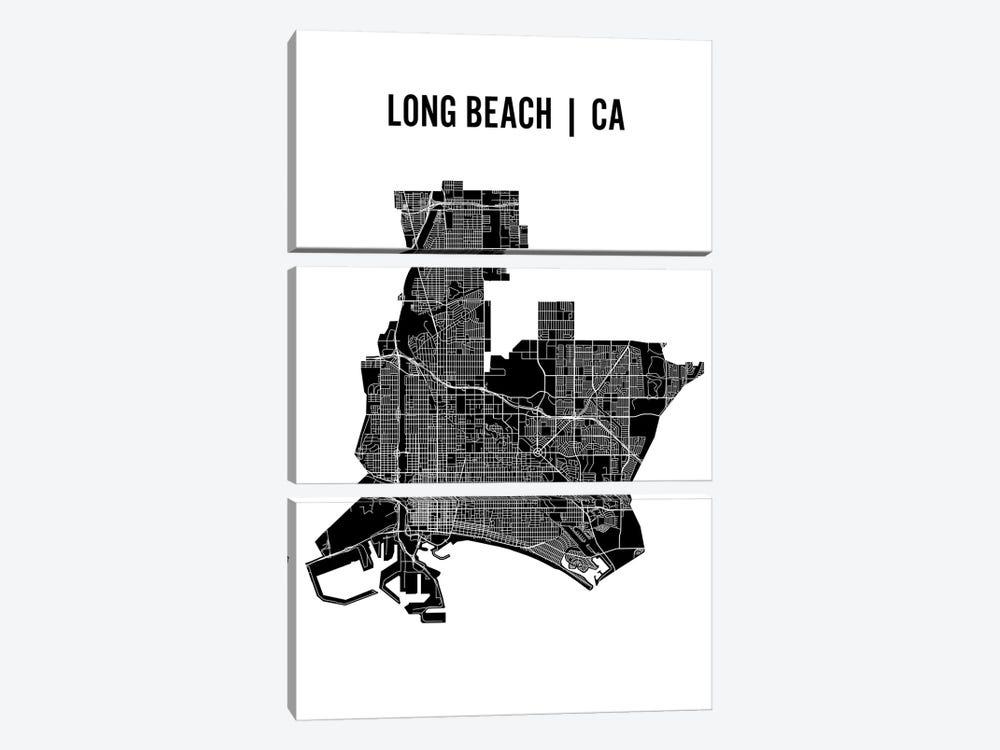 Long Beach Map by Mr. City Printing 3-piece Art Print