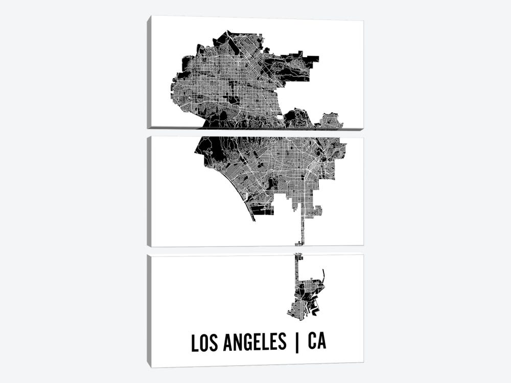 Los Angeles Map by Mr. City Printing 3-piece Canvas Artwork