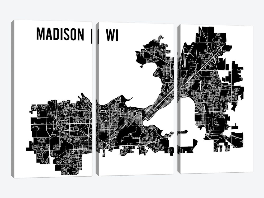 Madison Map by Mr. City Printing 3-piece Canvas Art Print