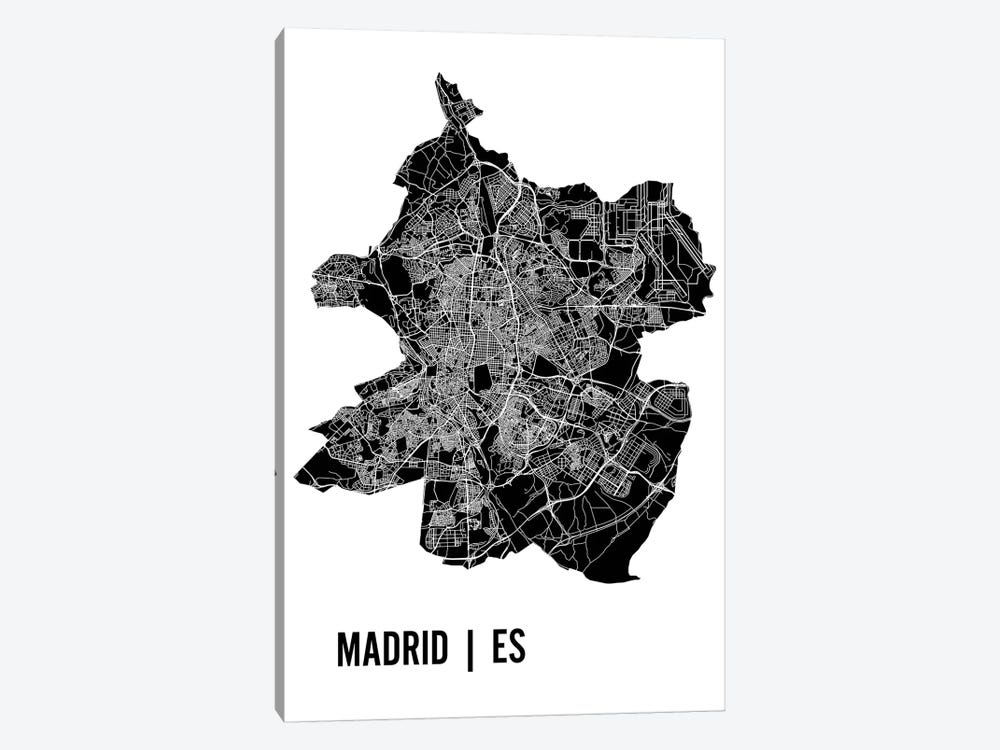 Madrid Map by Mr. City Printing 1-piece Canvas Art