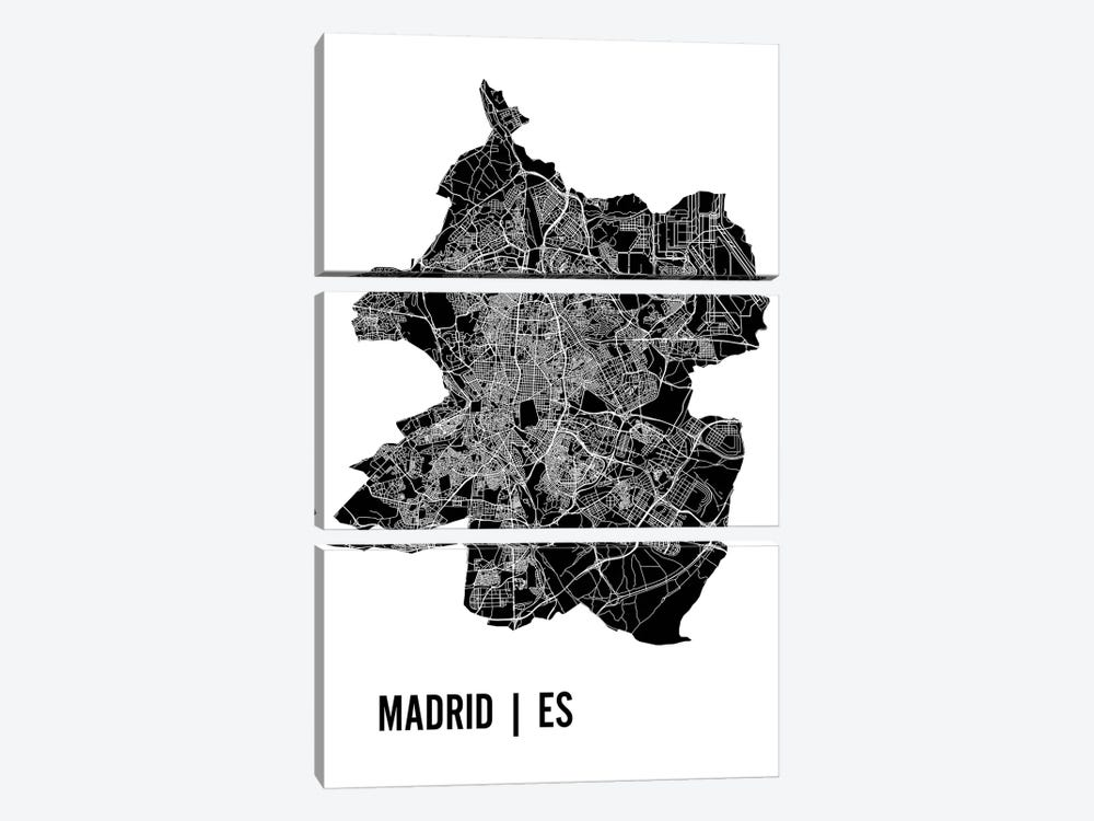 Madrid Map by Mr. City Printing 3-piece Canvas Art