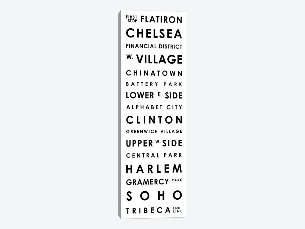 Manhattan Typographical Neighborhoods by Mr. City Printing 1-piece Canvas Wall Art