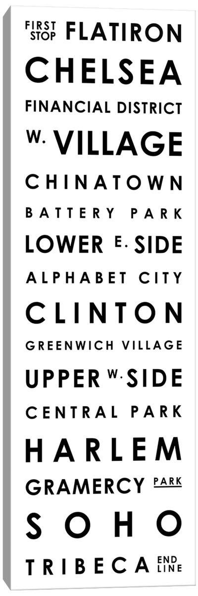 Manhattan Typographical Neighborhoods Canvas Art Print