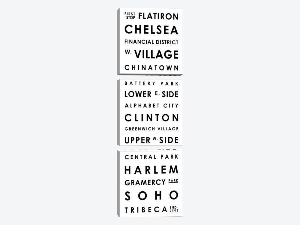 Manhattan Typographical Neighborhoods by Mr. City Printing 3-piece Canvas Wall Art