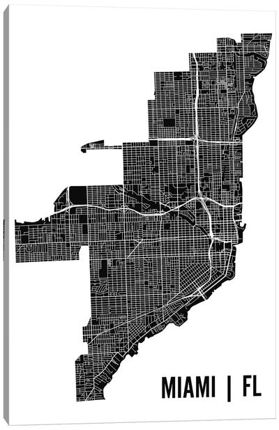 Miami Map Canvas Art Print